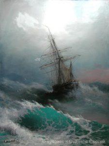 barcos en tormentas en el mar