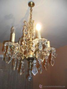 lamparas de bronce y cristal antiguas