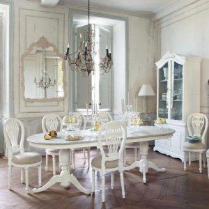 mesa ovalada blanca
